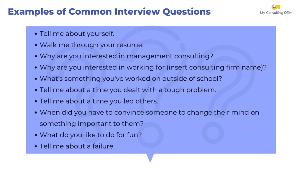 Questions and answers to consulting interview questions.