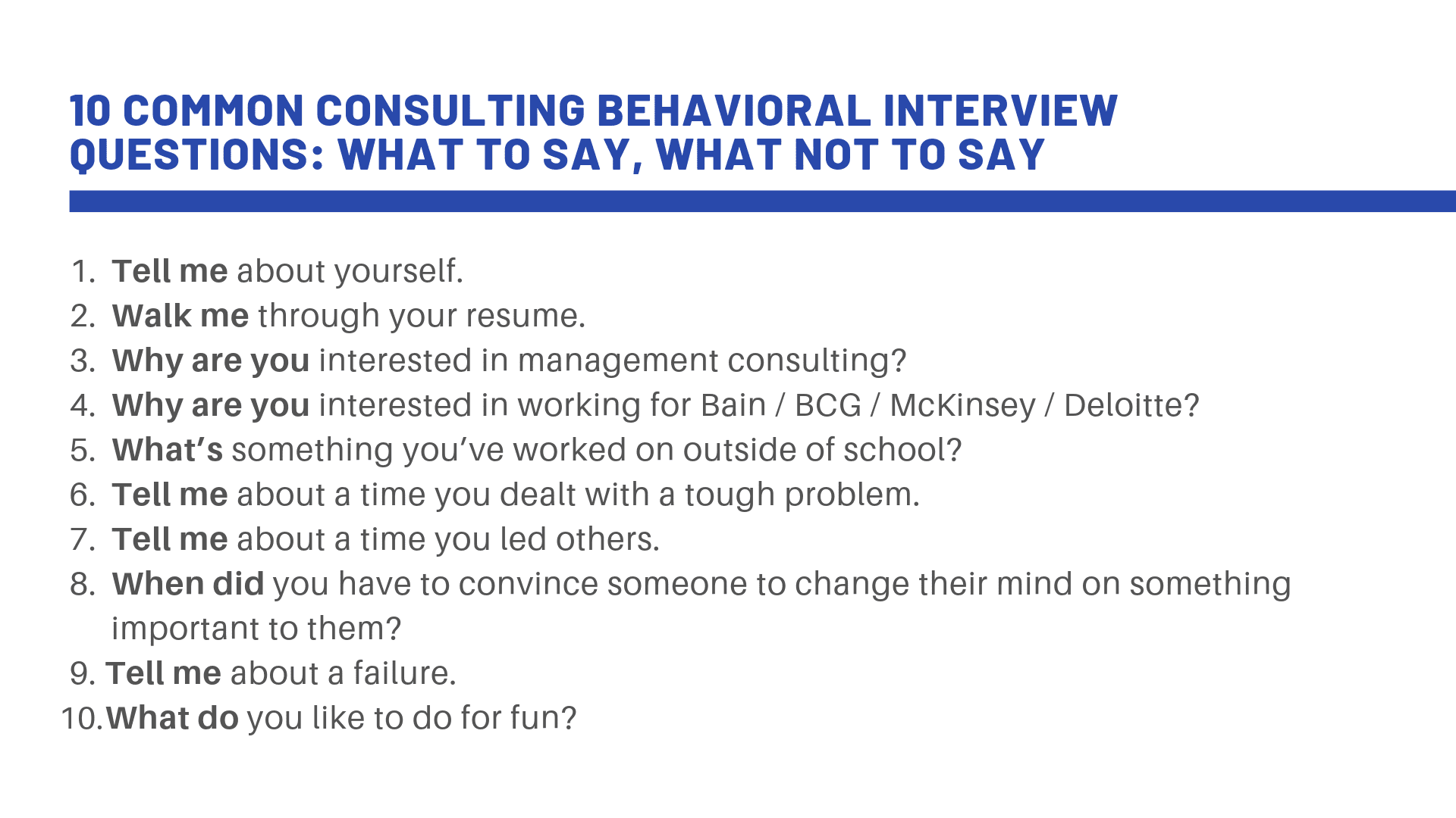 Fit interview questions