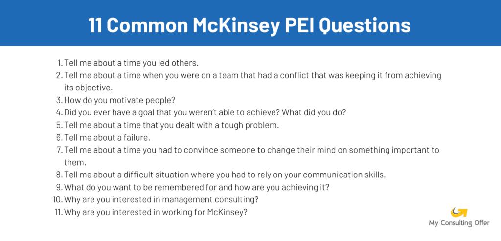 Common McKinsey PEI questions