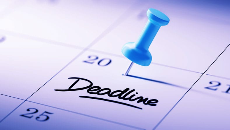 "case interview workshop. Image shows a calendar with ""deadline"" written in bold letters."