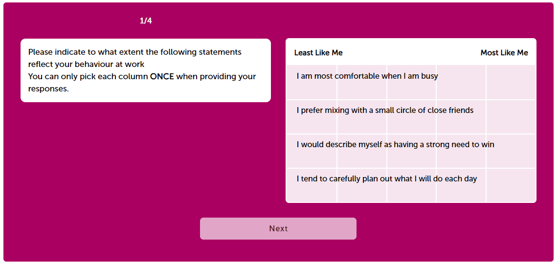 personality questionnaire as part of the Bain Online Assessment